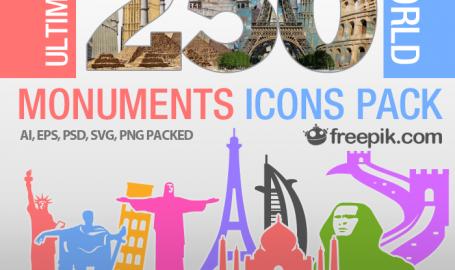 250个世界地标图标包免费下载 - 图标素材