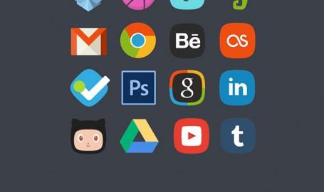 20 Social Media Badges - 社交图标套件