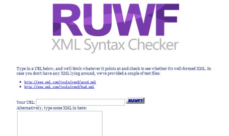 RUWF XML Syntax Checker - XML错误检查工具