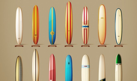 Classics longboards From The 60's - 长板矢量图形设计