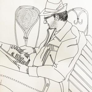 The man at the bar Hand Drawn Illustration - 手绘插图