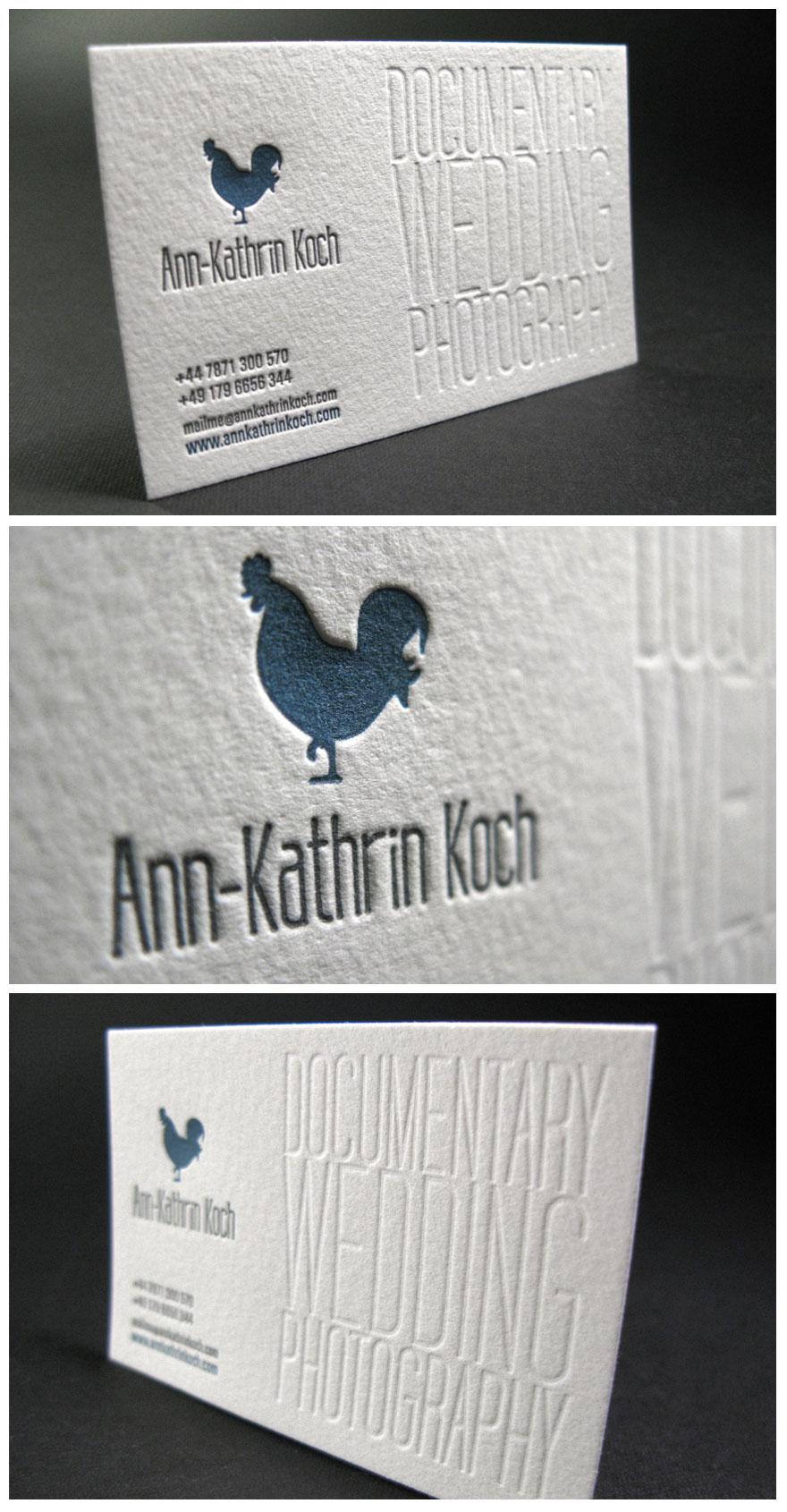 Letterpress Business Card For Wedding Photographer
