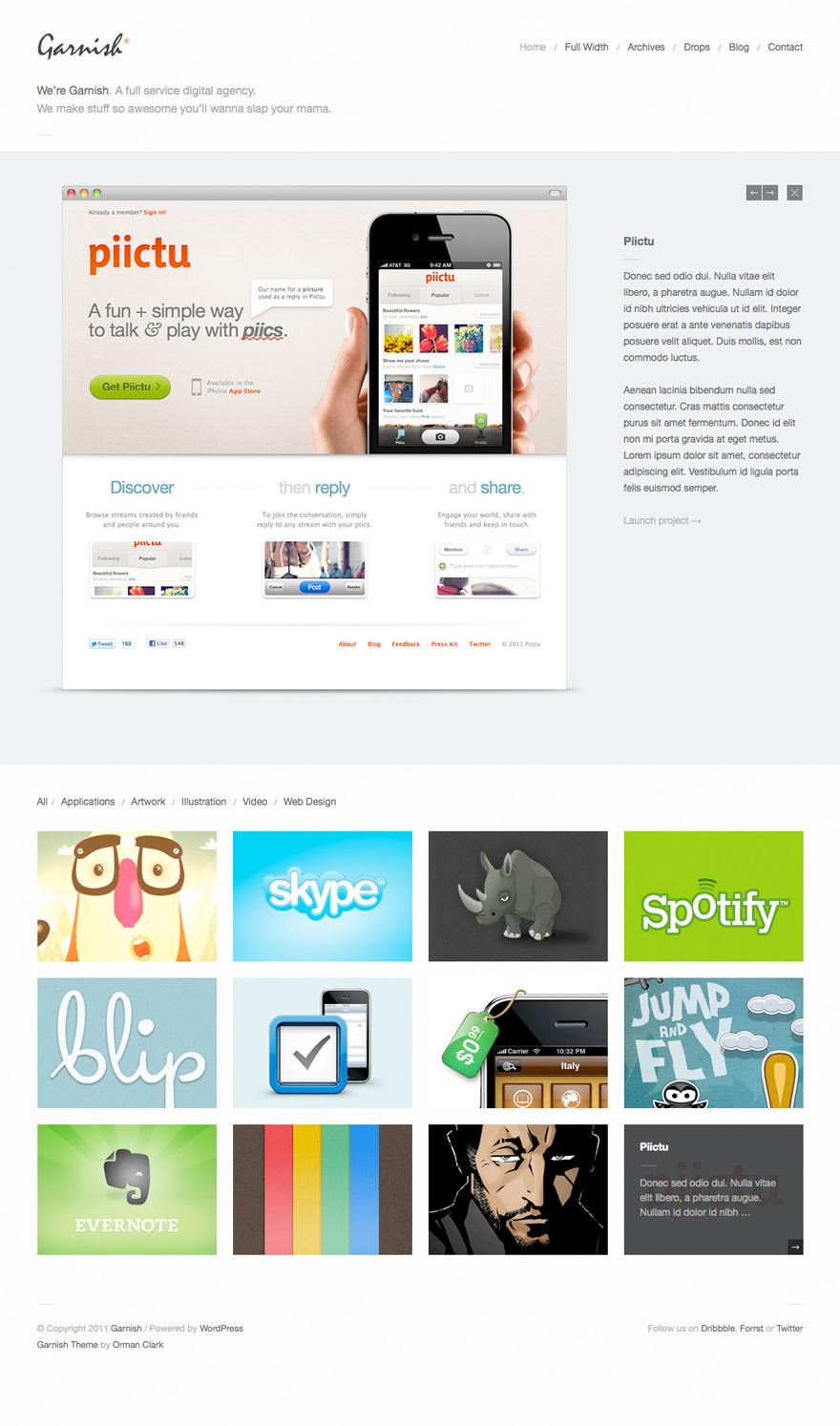 Garnish: Clean-Cut WordPress Portfolio Theme – 国外网页主题模板设计案例精选 - 任刚 · Ren Gang 世界设计 · 设计世界