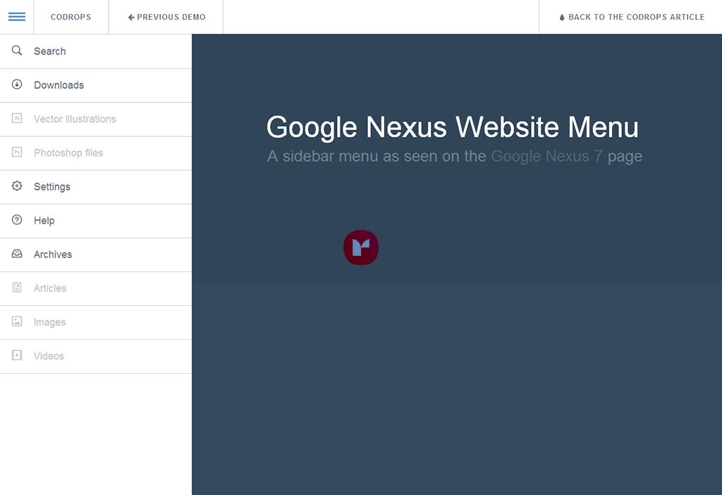 Google Nexus Website Menu – 响应式菜单插件