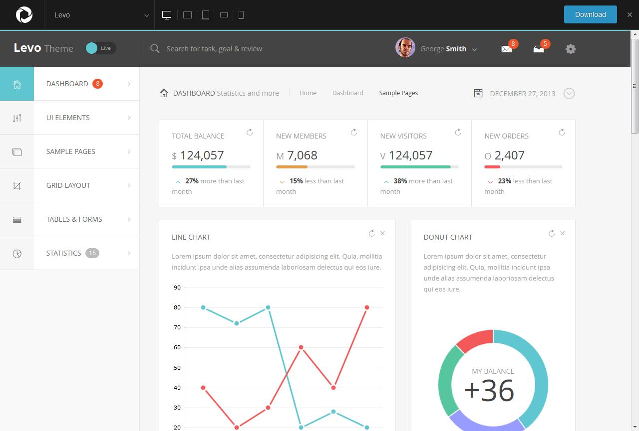 HTML5 Bootstrap Admin Templates - Levo HTML5 Admin Template Live Demo