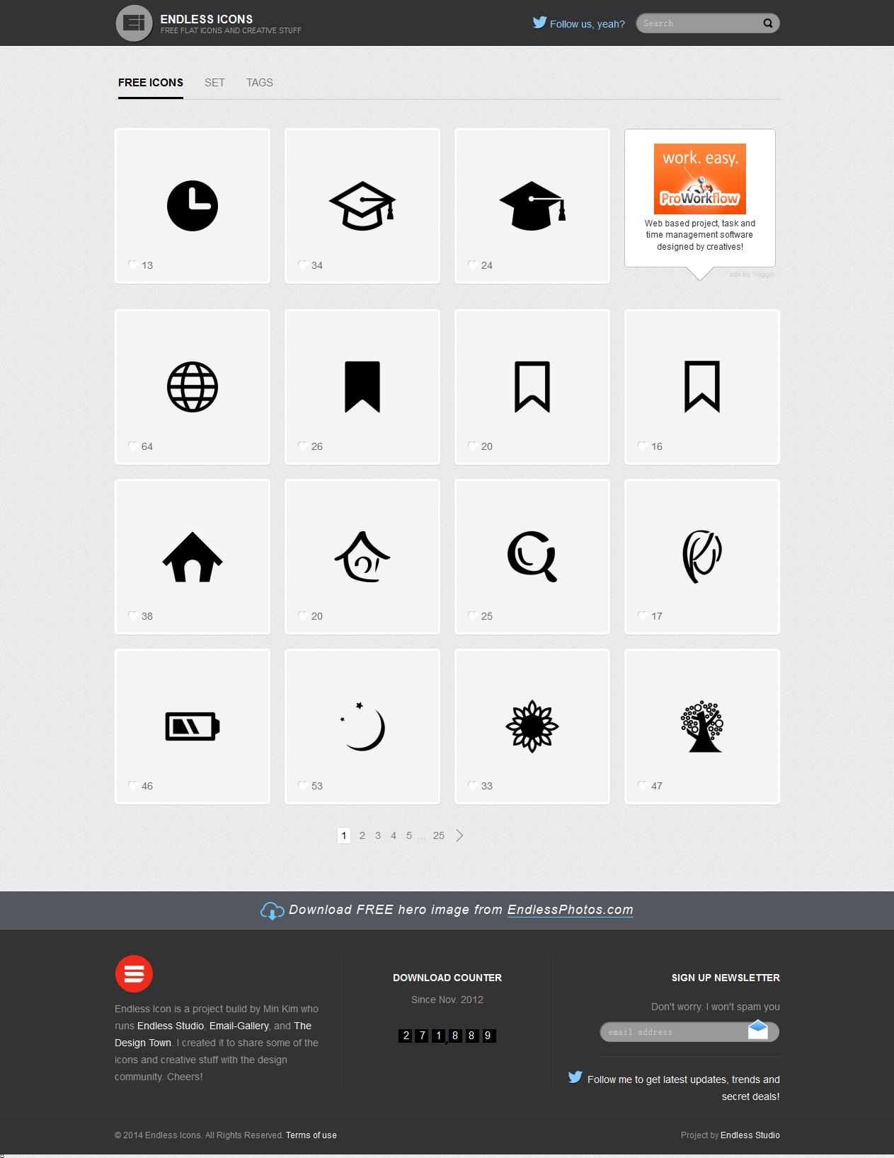 扁平化图标素材网站:Endless Icons(Free Flat Icons and Creative Stuff) - 任刚 · Ren Gang 世界设计 · 设计世界