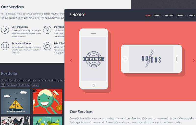 Singolo: HTML Web Template – 扁平化网页模板素材(PSD+HTML)