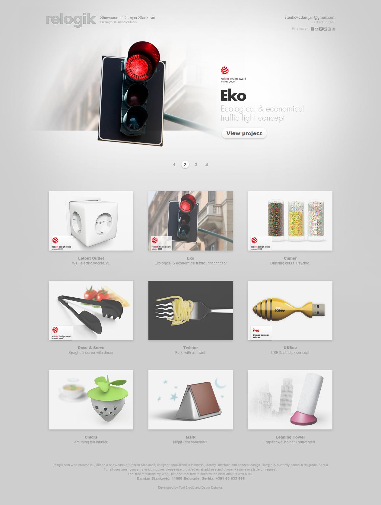 优秀网页设计欣赏:Design & innovation  Showcase of Damjan Stanković - 任刚 · Ren Gang 世界设计 · 设计世界