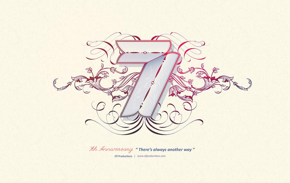 国外设计师字体设计案例 – 7周年字体设计 – 精灵制作(Elf Productions)