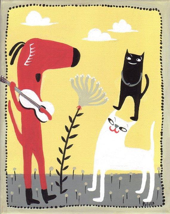 国外设计师插图设计案例 – Red Dog Singer  Guitar Player Art Print – Black and White Cat Audience – Yellow and Grey Folk Art