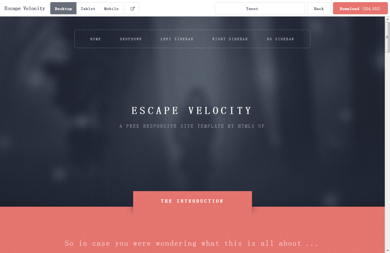 Escape Velocity – 又一款响应式HTML5网页主题免费下载 - 任刚 · Ren Gang 世界设计 · 设计世界