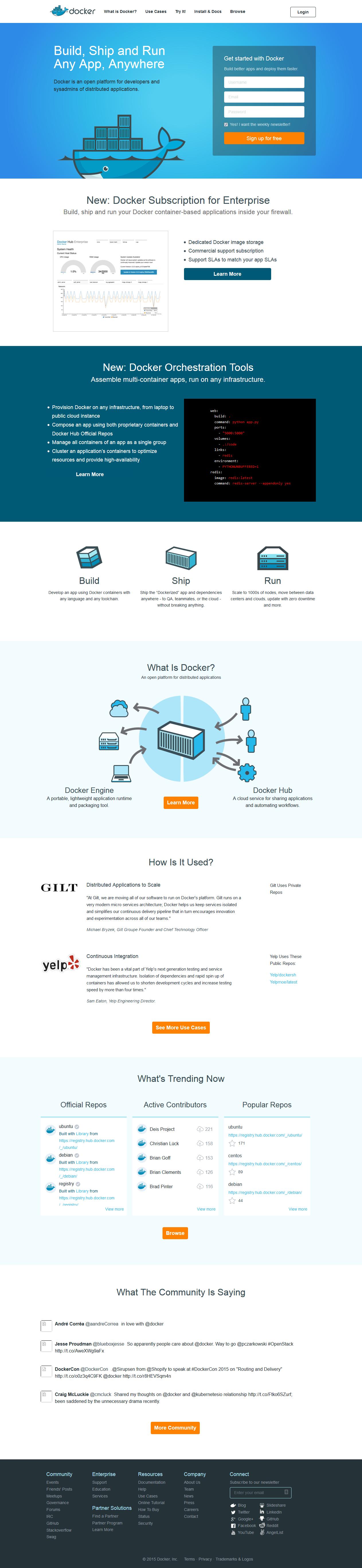 Docker 官方网站 – 盘点:那些使用 Bootstrap 前端框架搭建的响应式网页案例