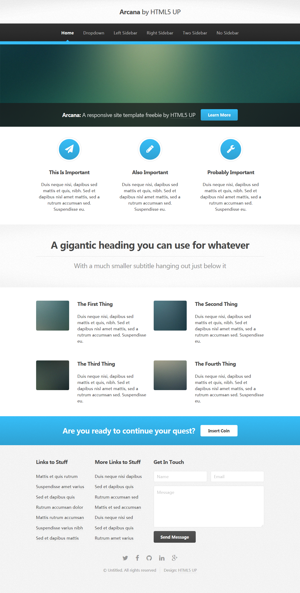 Arcana A responsive site template freebie by HTML5 UP