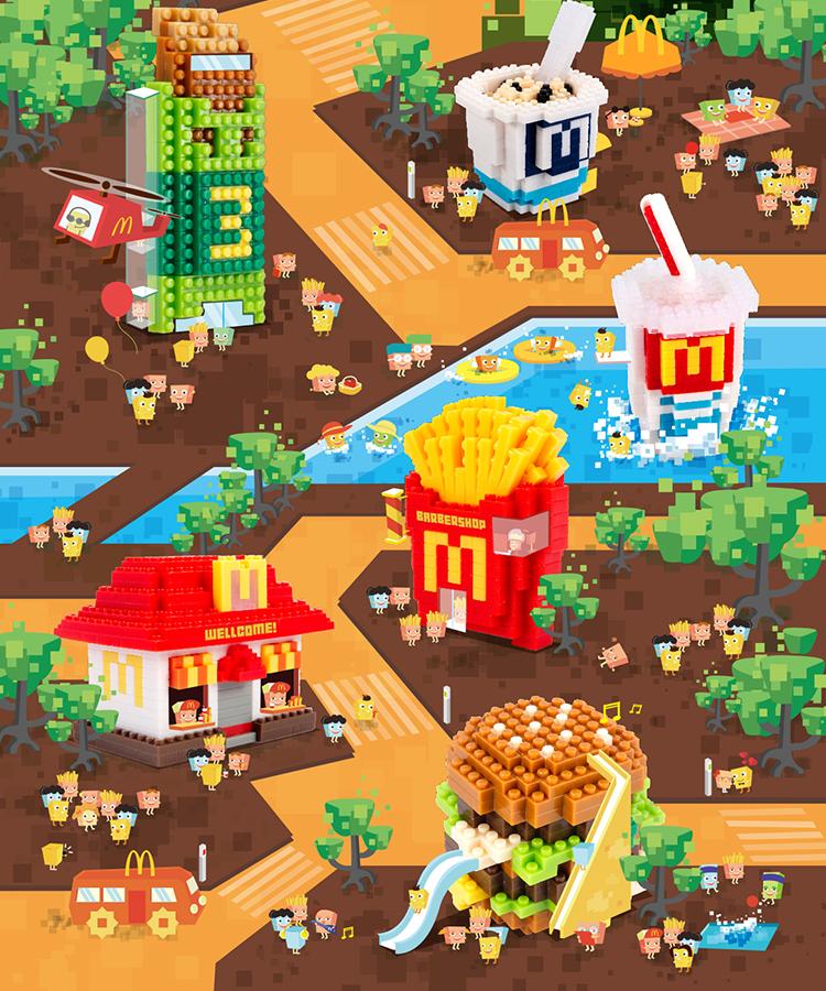 麦当劳 X nanoblock 系列创意海报设计欣赏