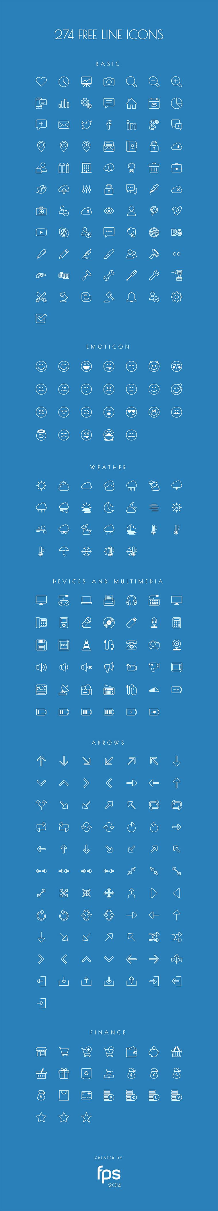 274个免费线条图标字体 – 274 Vector Line Icons for free - 任刚 · Ren Gang 世界设计 · 设计世界