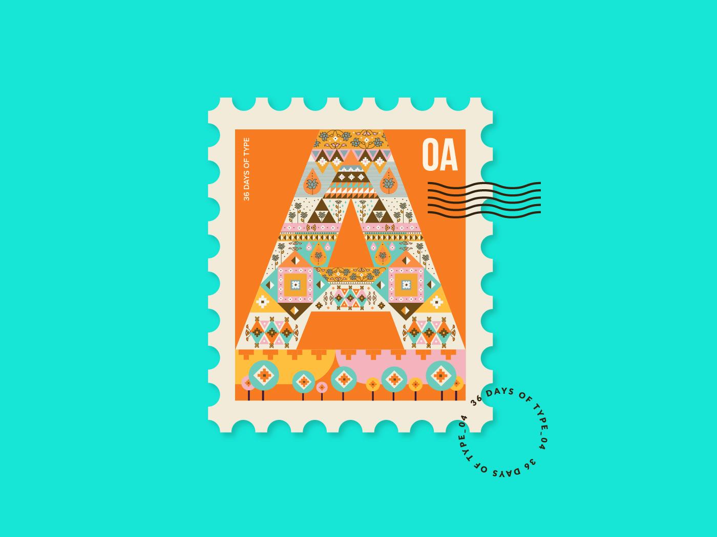 国外创意英文字母邮票插图设计欣赏 – 36 Days of Type Stamp Collection,所属类别:邮票、插画