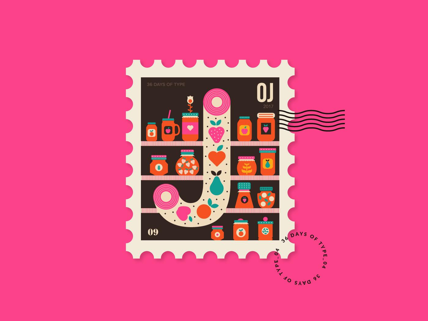 国外创意英文字母邮票插图设计欣赏 – 36 Days of Type Stamp Collection,所属类别:邮票、插画 - 任刚 · Ren Gang 世界设计 · 设计世界