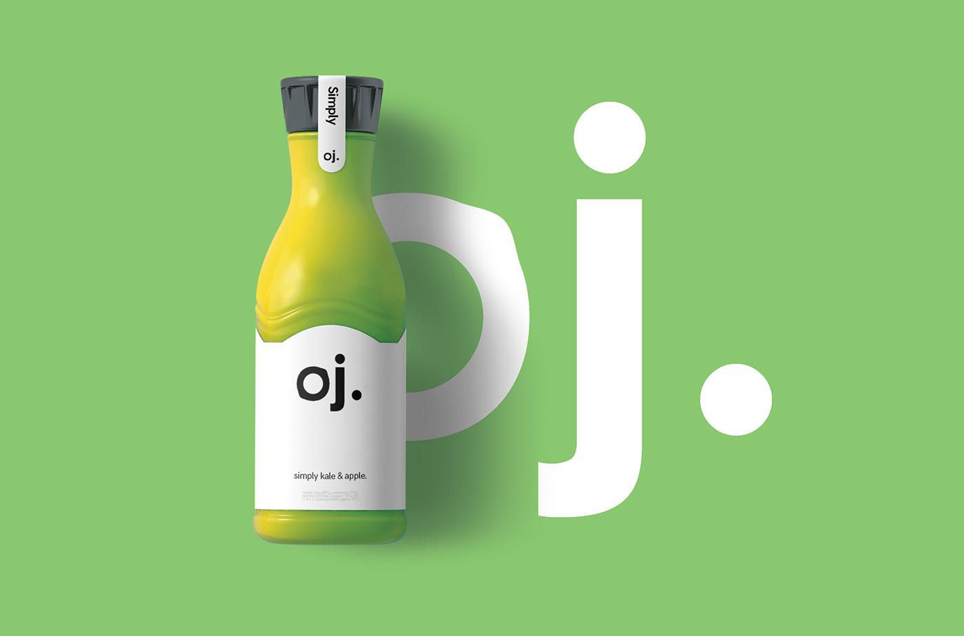 饮料品牌设计欣赏 Oj. – Branding Concept 所属类别:品牌设计、品牌视觉、品牌识别、包装、饮料